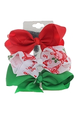 Dozen Assorted Color Christmas Theme 3-pc Multi Bow Hair Clip Set