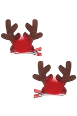 A Dozen Assorted Color 2-pc Reindeer Antler Hair Clip Set