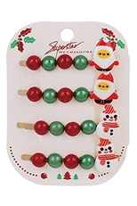 A Dozen Assorted Color 4-pc Christmas Theme Hairpin