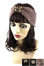 Dozen Assorted Color Leopard Print Knitted Headwrap