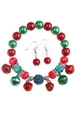 Dozen Assorted Color Christmas Theme Stretch Bracelet