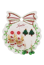 A Dozen Assorted Color 4-pair Christmas Earring Set