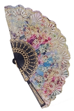 A Dozen Assorted Color Flower Hand Fan