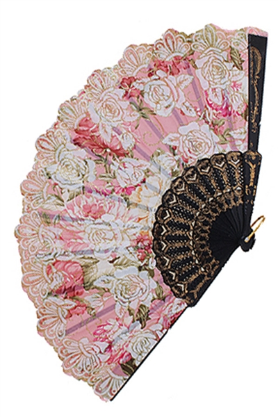 A Dozen Assorted Color Floral Print Fan