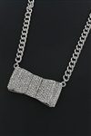 Crystal Stone Embeded Bow Pendant Necklace
