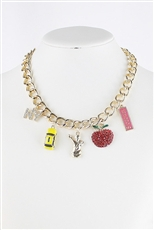 NY Theme Multi Charm Necklace