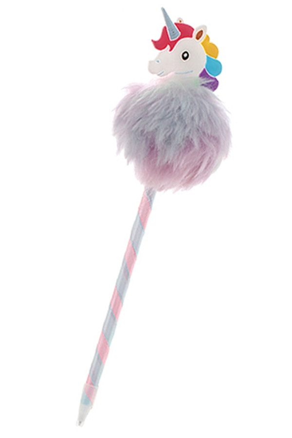 20cm Unicorn Pom Pom Pen blue available only