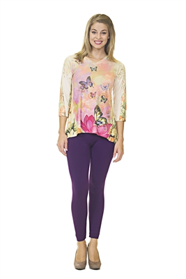 Floral Top - 3/4 Sleeve - White/Pink/Purple