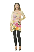 Floral Top - Long Sleeve - White/Pink/Purple/Yellow