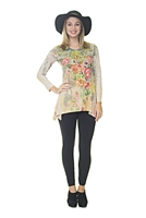 Floral Top - Long Sleeve - Pink/Green/Yellow/Peach