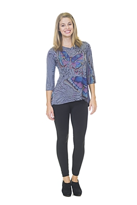 Butterfly Top - 3/4 Sleeve - Purple