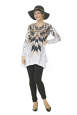 Full Length Top - Long Sleeve - White/Gold/Black