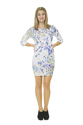 Floral Full Length Top - Long Sleeve - White/Blue/Purple