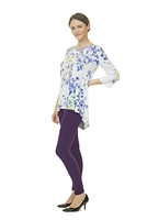 Floral Top - 3/4 Sleeve - White/Blue/Purple