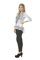Floral Top - 3/4 Sleeve - White/Black