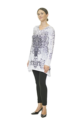 Floral Top - Long Sleeve - White/Black