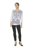 Floral Top - 3/4 Sleeve - White/Black/Gray