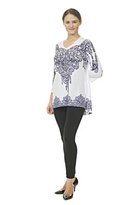 Floral Top - 3/4 Sleeve - White/Black/Gold