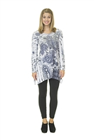 Floral Top - Long Sleeve - White/Gray