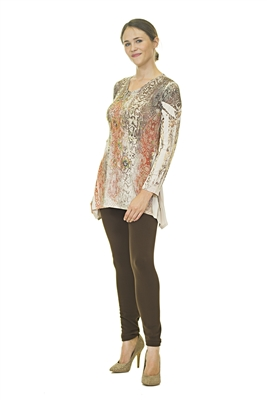 Floral Top - Long Sleeve - White/Orange/Brown