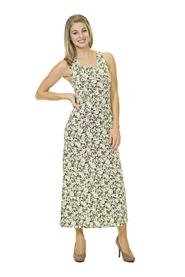 Floral Print Dress - White/Black/Brown
