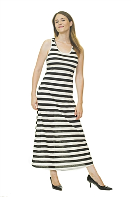 Casual Dress - Multi-Colored - Black/White