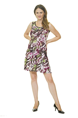 Floral Print Mini Dress - Purple/Black/White