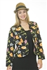 Floral Print Jacket - Multi-Colored - Black/Pink/Yellow