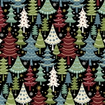 Benartex Jolly Penguin and Friends Festive Trees Black/Multi 10044-12 Half yard
