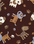 Timeless Treasures Stitched Dogs Dog-C5855-Brown Half Yard