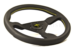 PERSONAL Grinta 330mm Black Leather/Black Spoke/Yellow Thread