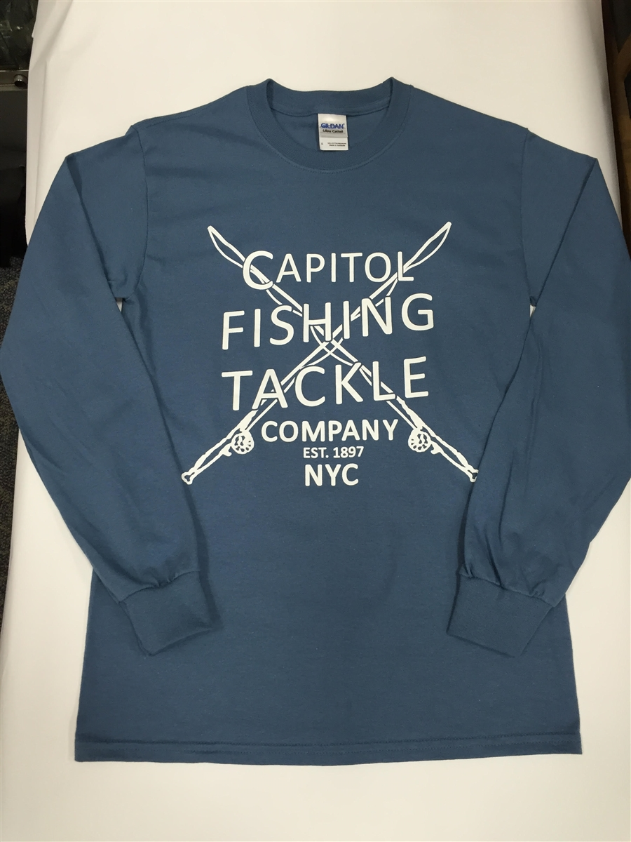 Capitol Fishing Tackle Company Famous Long Sleeve T Shirt Light Blue