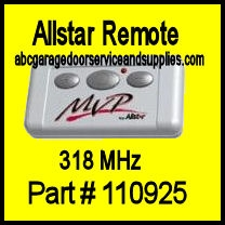 Allstar MVP-QC Remote Transmitter ( 318 MHz ) , Part # 110925