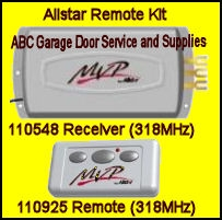 Allstar 1 Car Radio Set Quick Code 318 MHz 110548, and 110925 ( receiver & 3 button remote )