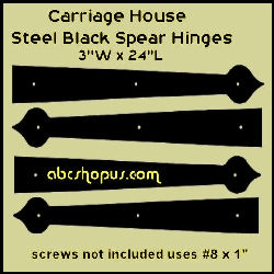 "Carriage House Steel Strap Spear Hinge 24"" Qty. 4"