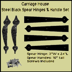 "Carriage House Steel Black Spear Hinge 24"" and Spear Handle Set"