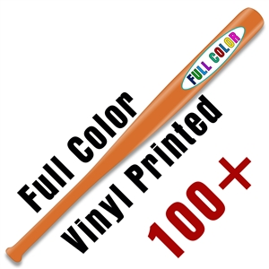 "Custom Vinyl Printed Natural or Colored 18"" Baseball Bat - 100 piece minimum - Full Color Print"