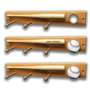 Baseball Bat, Baseball, 3 Peg Clothes Hanger, Wall Mount 3 Peg Baseball Display Clothes Hanger