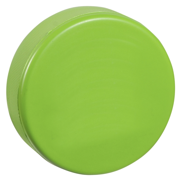 green hockey puck is soft like a stress ball