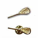 gold lacrosse stick lapel pin