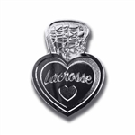 i love lacrosse lapel pin with a silver color finish