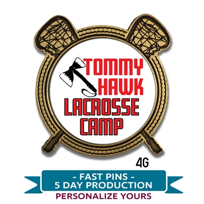 Quick Custom Personalized CAMP Lacrosse Lapel Pin. Choose from gold or silver  metal with custom text or your logo insert.