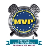 Quick Custom Personalized MVP Lacrosse Lapel Pin. Choose from gold or silver  metal with personalized full color insert.