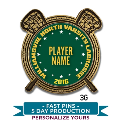 Quick Custom Personalized VARSITY Lacrosse Lapel Pin. Choose from gold or silver  metal with personalized full color insert.