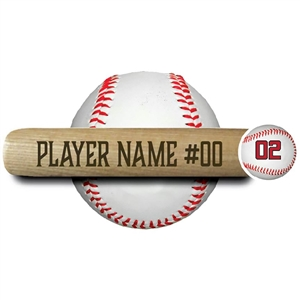 "ENGRAVED 18"" MINI BASEBALL BAT - name and number"