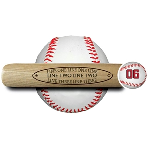 "engraved 18"" souvenir baseball bat ""add your choice of text inside an oval area"""