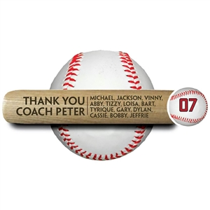 "ENGRAVED 18"" MINI BASEBALL BAT - Thank You Coach with team roster"
