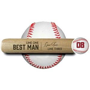 "ENGRAVED 18"" MINI BASEBALL BAT - BEST MAN"