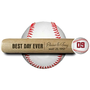 "engraved 18"" souvenir baseball bat ""best day ever"""