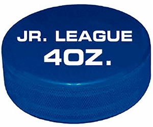 official game puck 4oz. blue jr. hockey puck